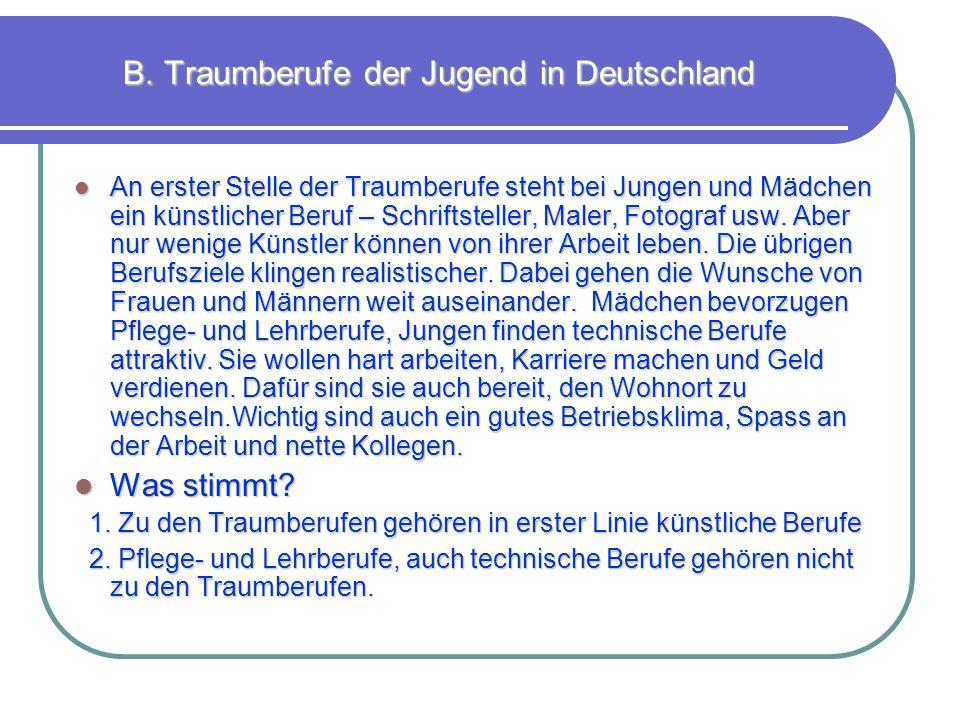 B. Traumberufe der Jugend in Deutschland