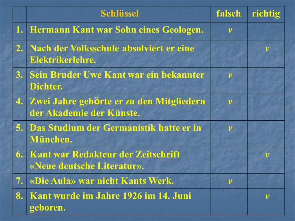 Schlüssel. falsch. richtig. 1. Hermann Kant war Sohn eines Geologen. v. 2. Nach der Volksschule absolviert er eine Elektrikerlehre.