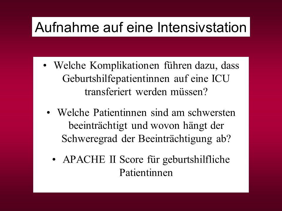 APACHE II Score für geburtshilfliche Patientinnen