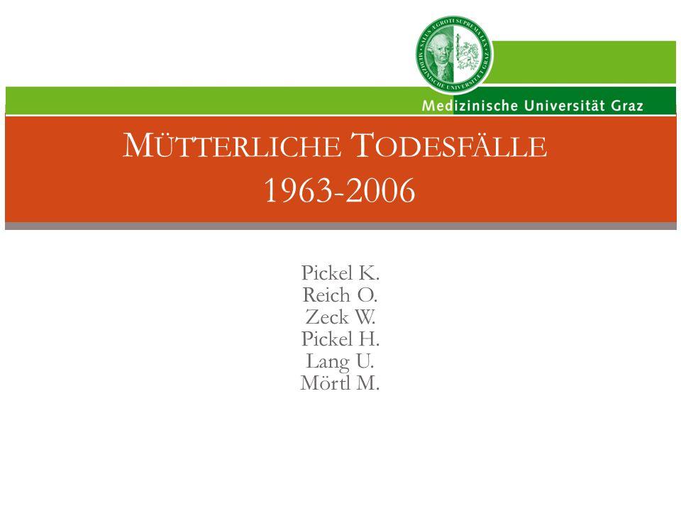 Mütterliche Todesfälle 1963-2006