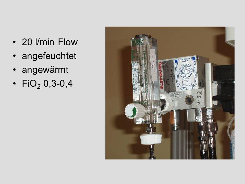 20 l/min Flow angefeuchtet angewärmt FiO2 0,3-0,4