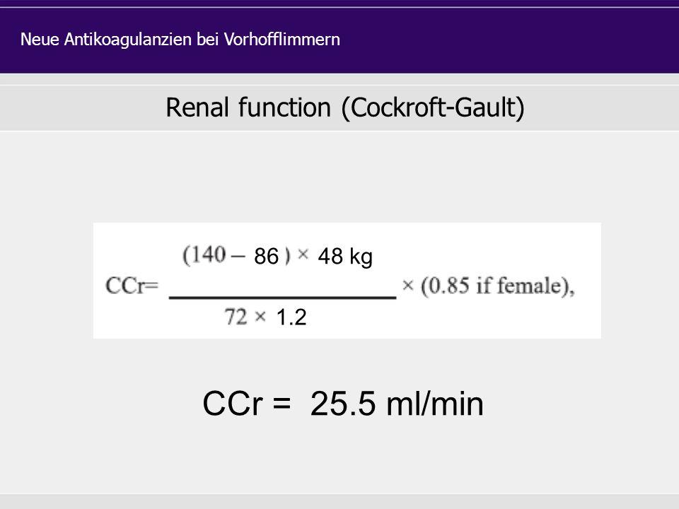 Renal function (Cockroft-Gault)