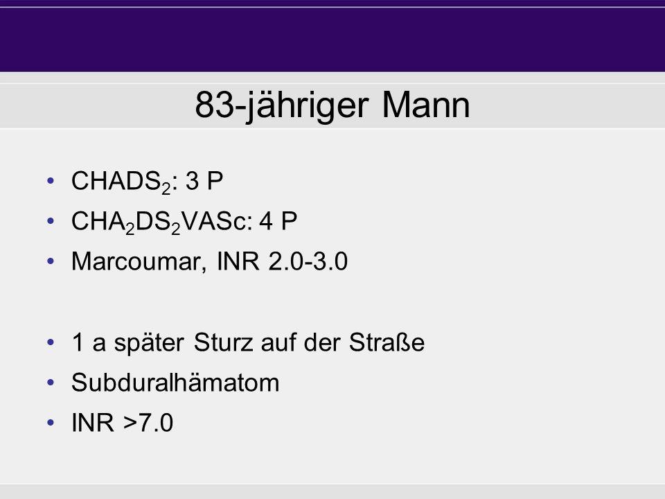 83-jähriger Mann CHADS2: 3 P CHA2DS2VASc: 4 P Marcoumar, INR 2.0-3.0