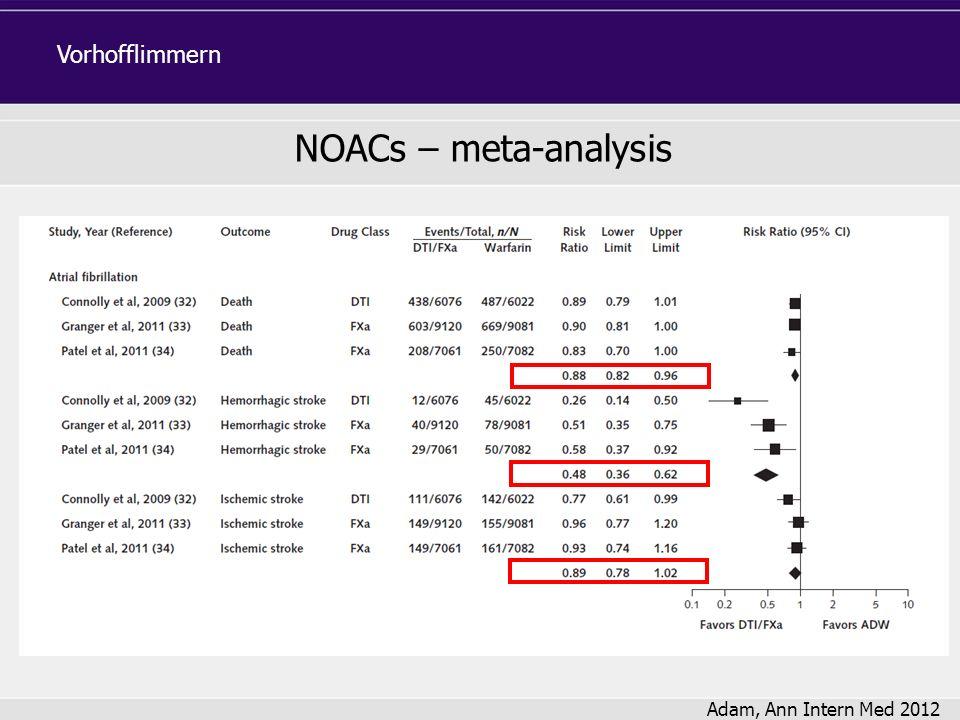 Vorhofflimmern NOACs – meta-analysis Adam, Ann Intern Med 2012