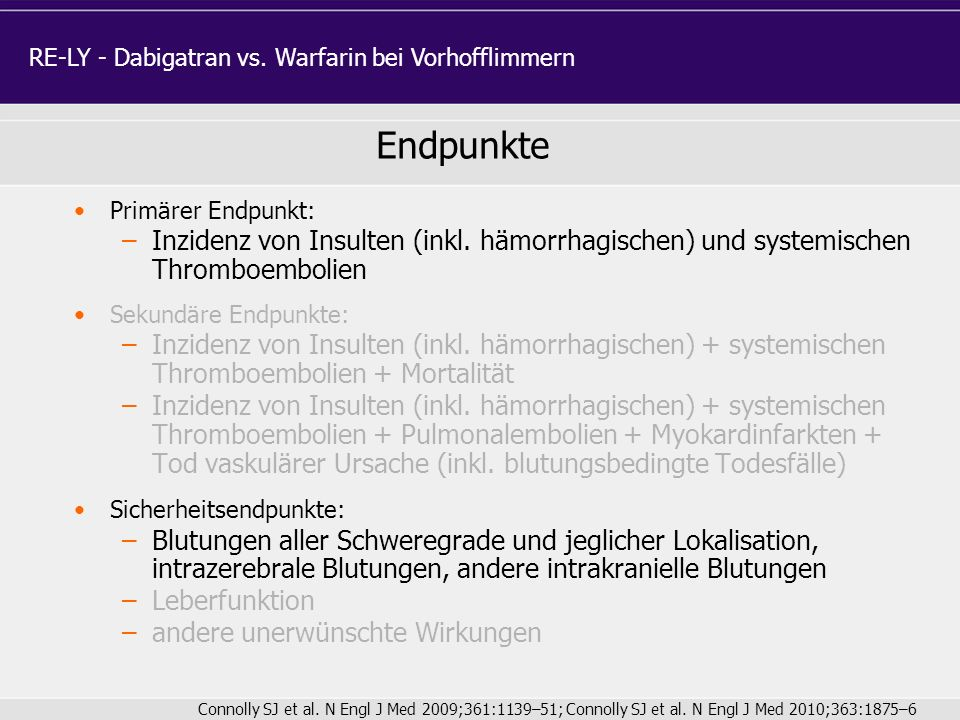 RE-LY - Dabigatran vs. Warfarin bei Vorhofflimmern
