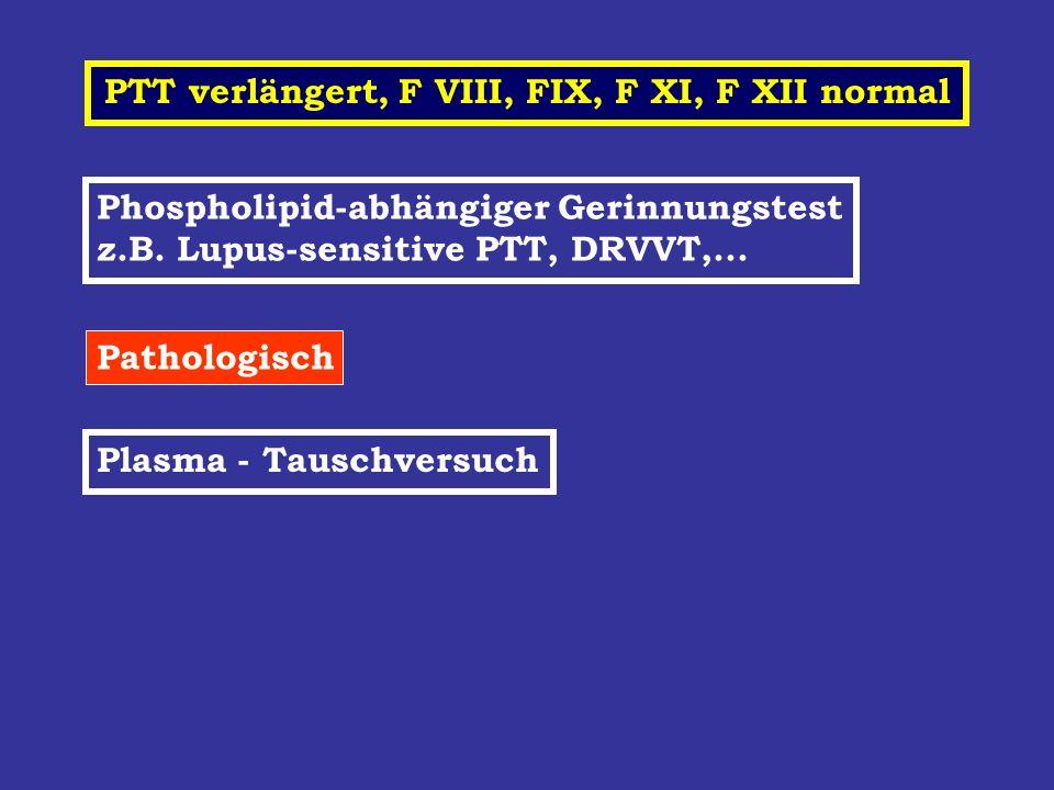 PTT verlängert, F VIII, FIX, F XI, F XII normal