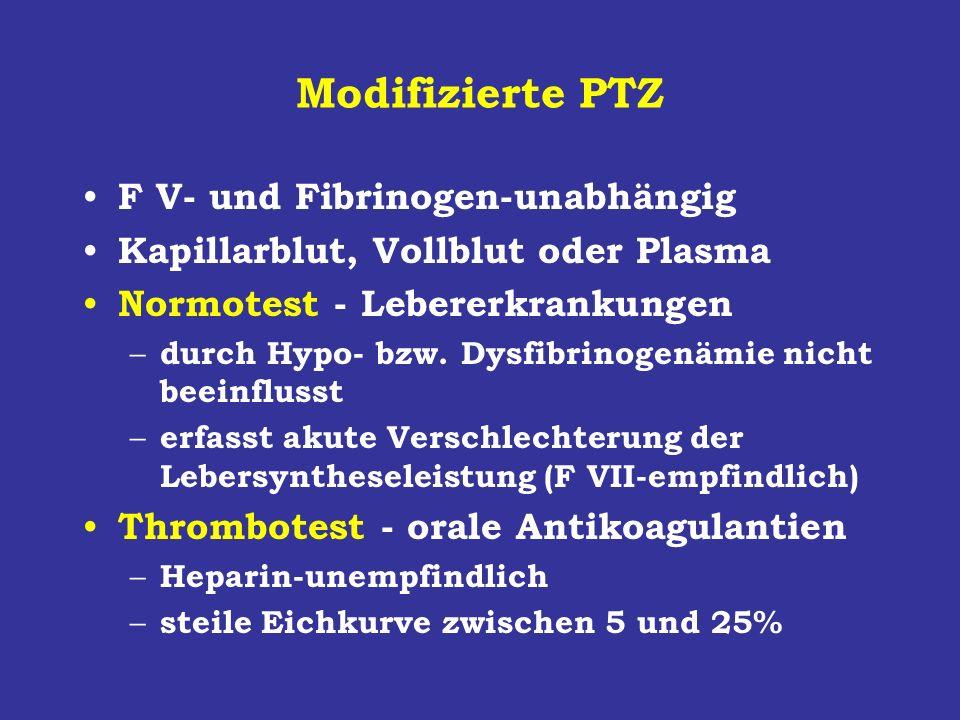 Modifizierte PTZ F V- und Fibrinogen-unabhängig