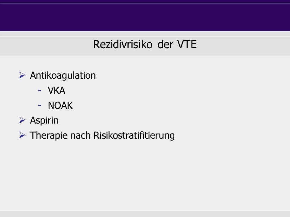 Rezidivrisiko der VTE Antikoagulation VKA NOAK Aspirin