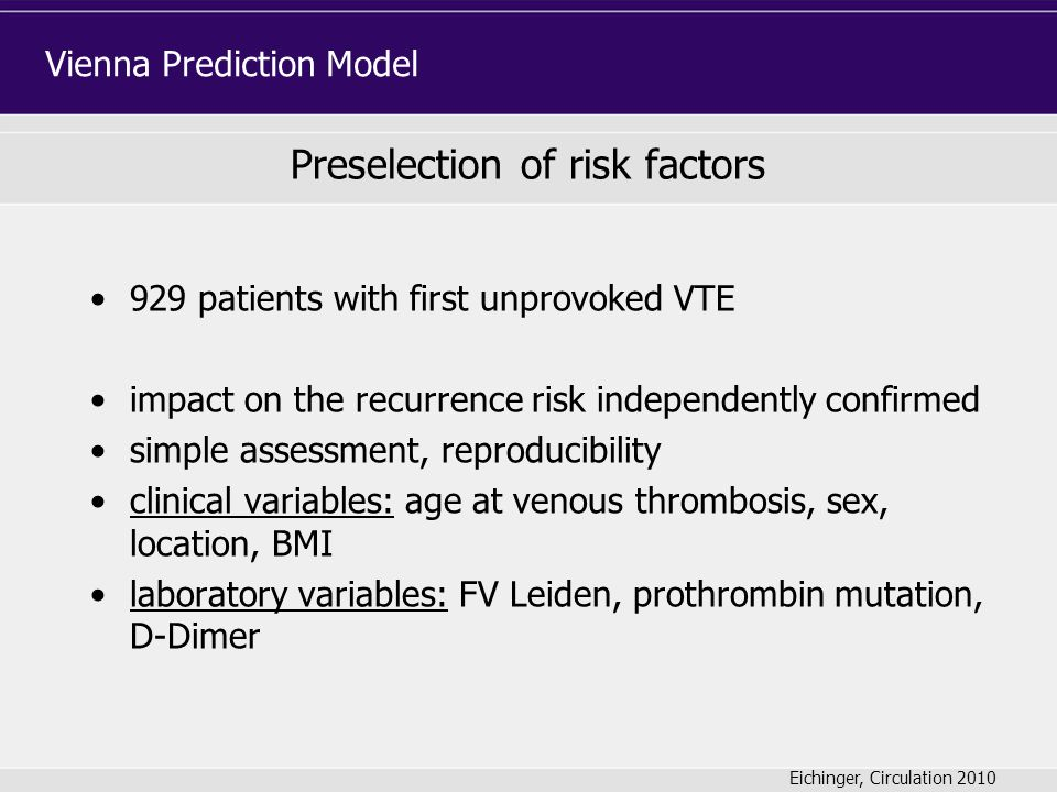 Preselection of risk factors