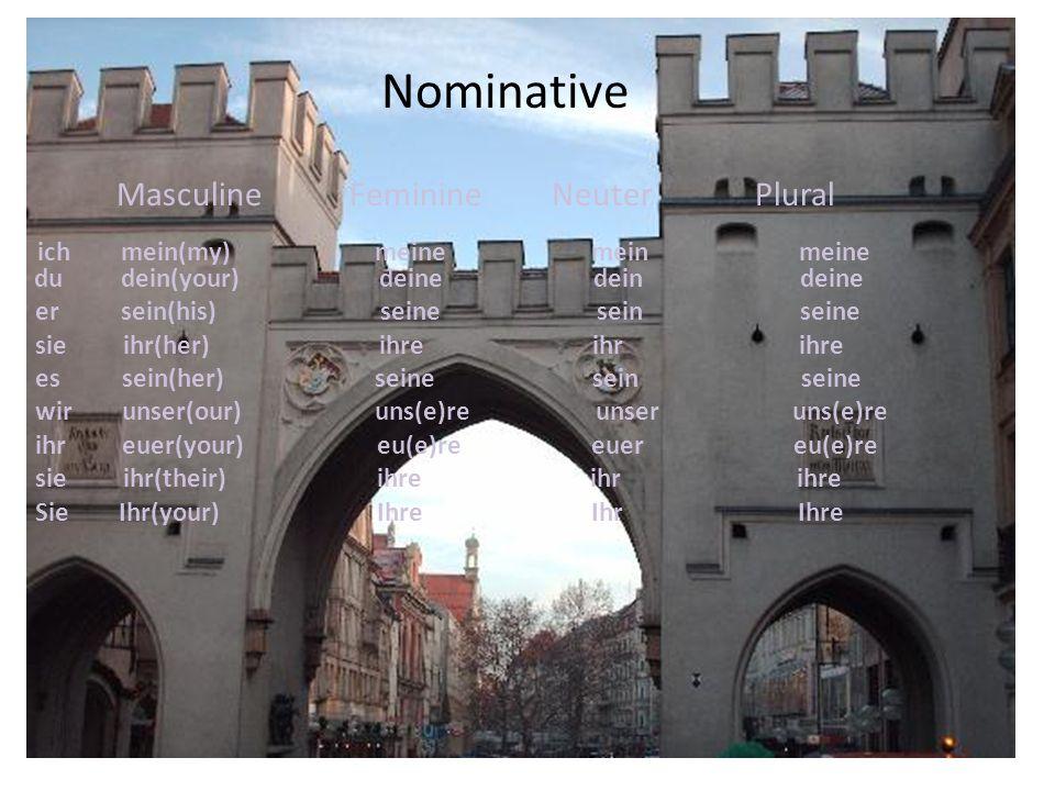 Nominative Masculine Feminine Neuter Plural