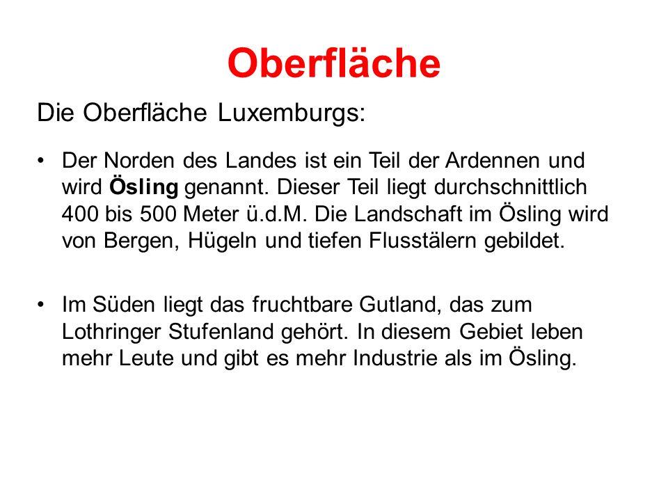 Oberfläche Die Oberfläche Luxemburgs: