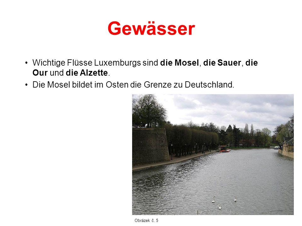 Gewässer Wichtige Flüsse Luxemburgs sind die Mosel, die Sauer, die Our und die Alzette. Die Mosel bildet im Osten die Grenze zu Deutschland.