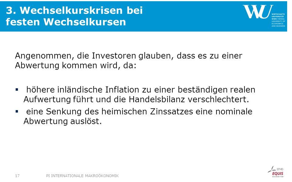 3. Wechselkurskrisen bei festen Wechselkursen