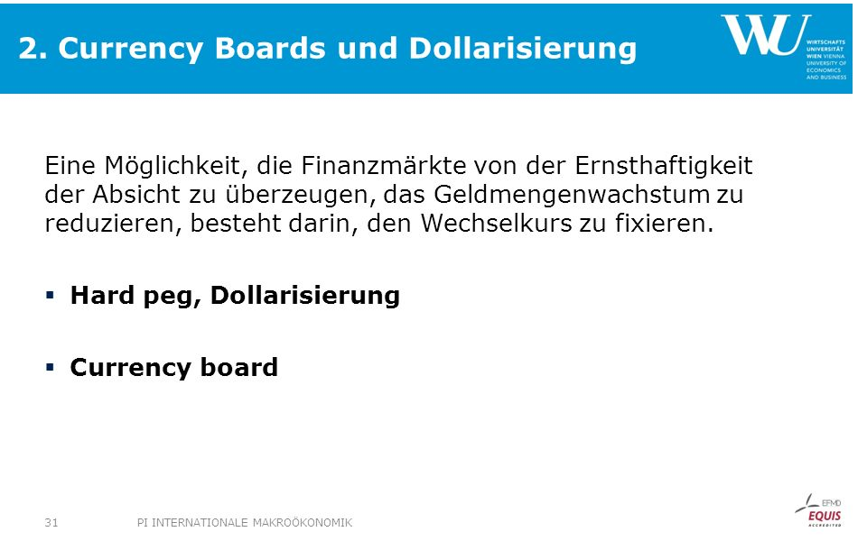 2. Currency Boards und Dollarisierung