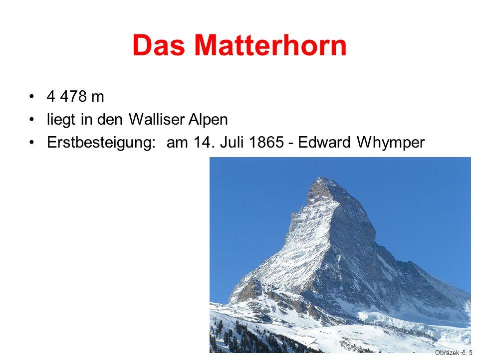 Das Matterhorn 4 478 m liegt in den Walliser Alpen
