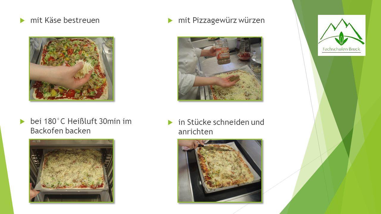mit Käse bestreuen bei 180°C Heißluft 30min im Backofen backen.