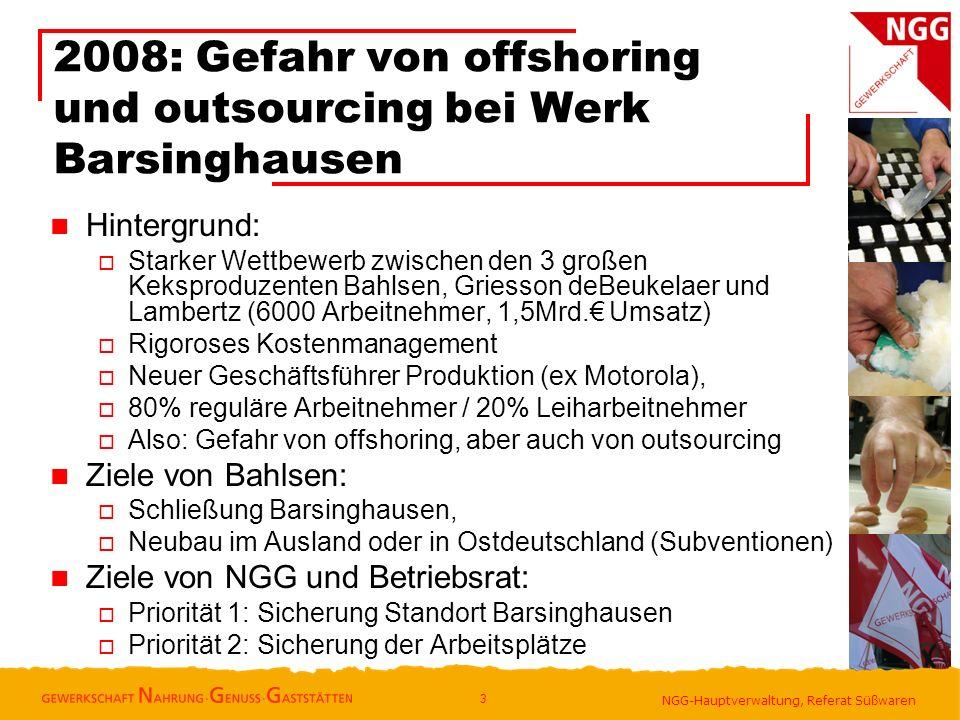 2008: Gefahr von offshoring und outsourcing bei Werk Barsinghausen