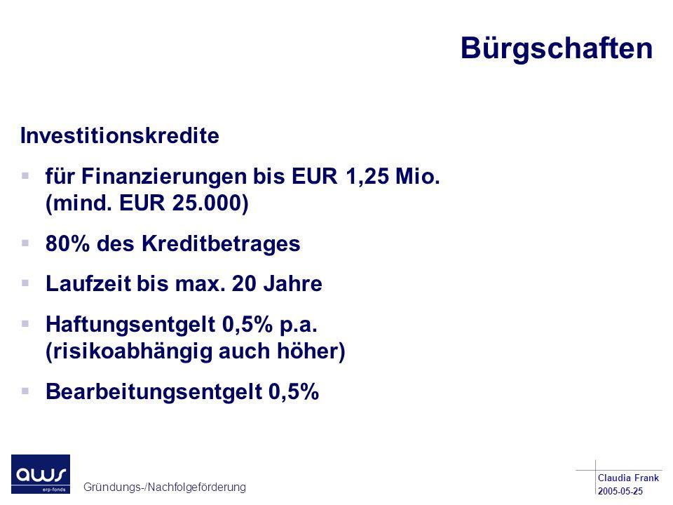 Bürgschaften Investitionskredite