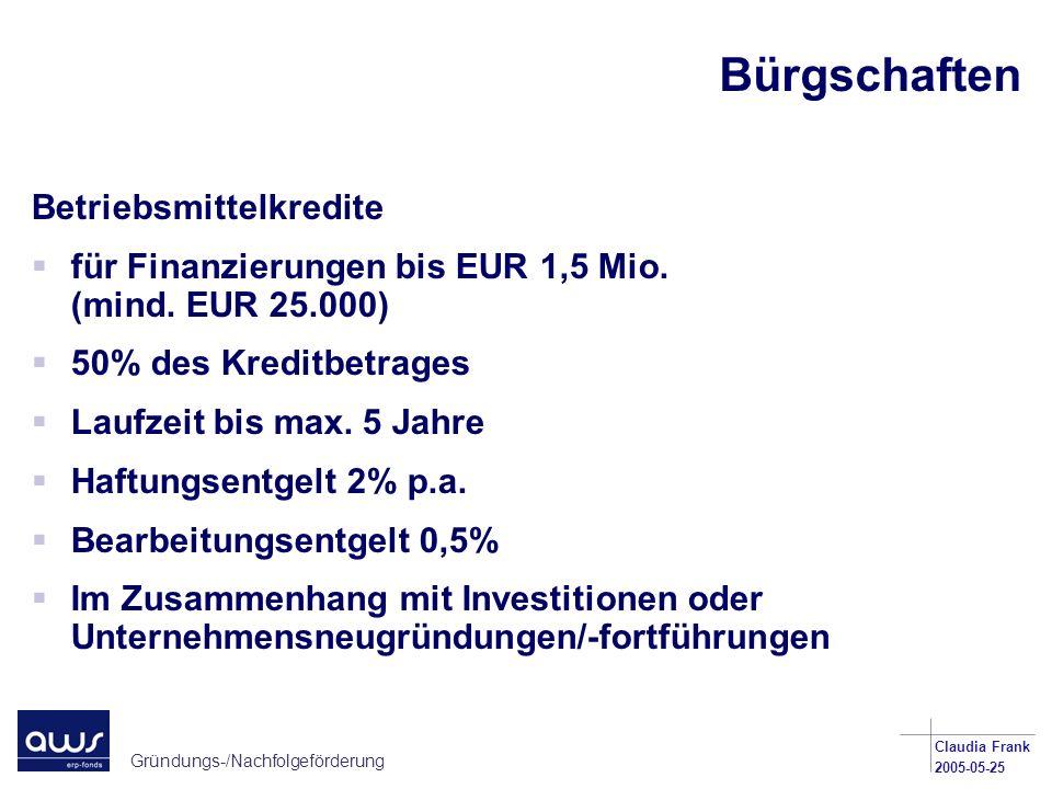 Bürgschaften Betriebsmittelkredite