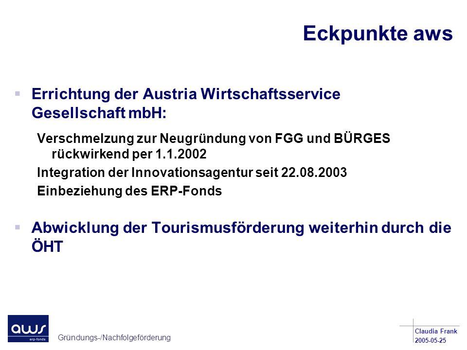 Eckpunkte aws Errichtung der Austria Wirtschaftsservice Gesellschaft mbH: Verschmelzung zur Neugründung von FGG und BÜRGES rückwirkend per 1.1.2002.