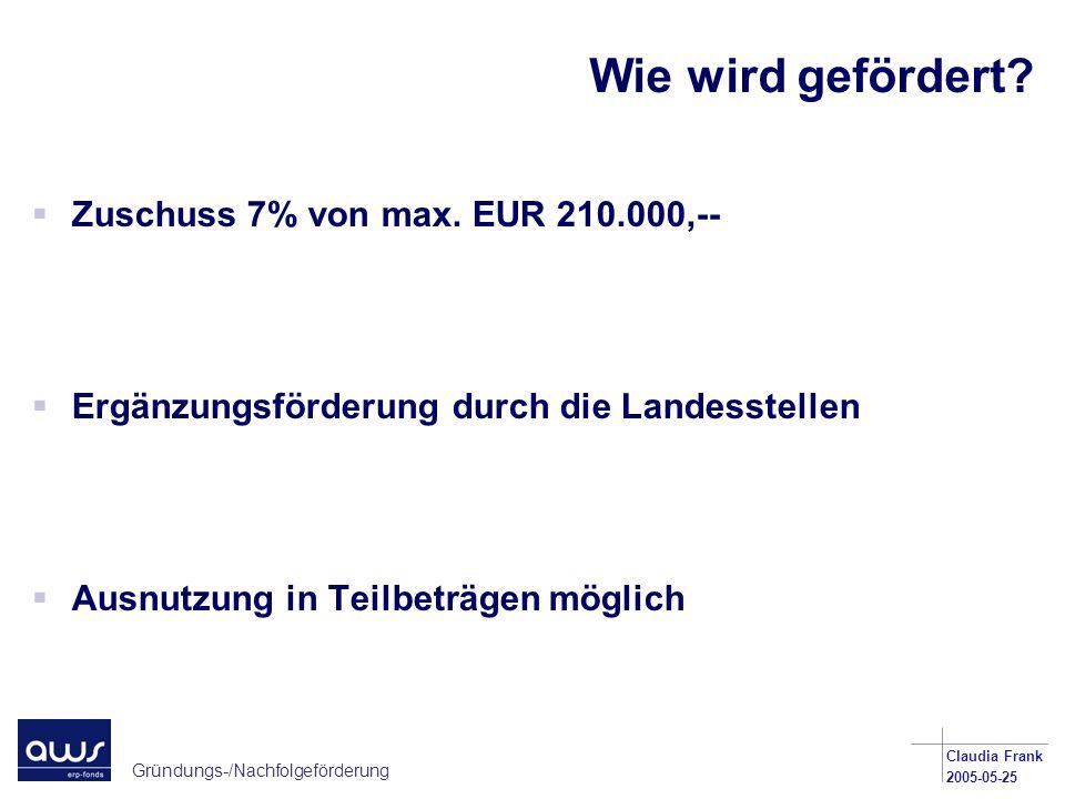 Wie wird gefördert Zuschuss 7% von max. EUR 210.000,--