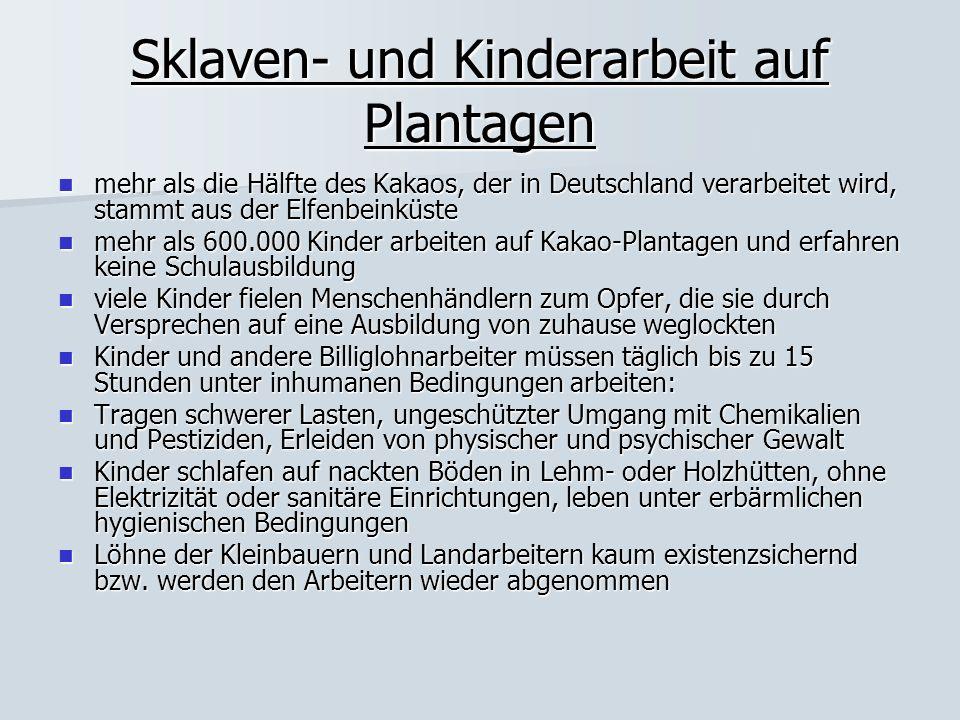 Sklaven- und Kinderarbeit auf Plantagen