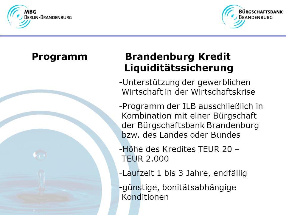 Programm Brandenburg Kredit Liquiditätssicherung