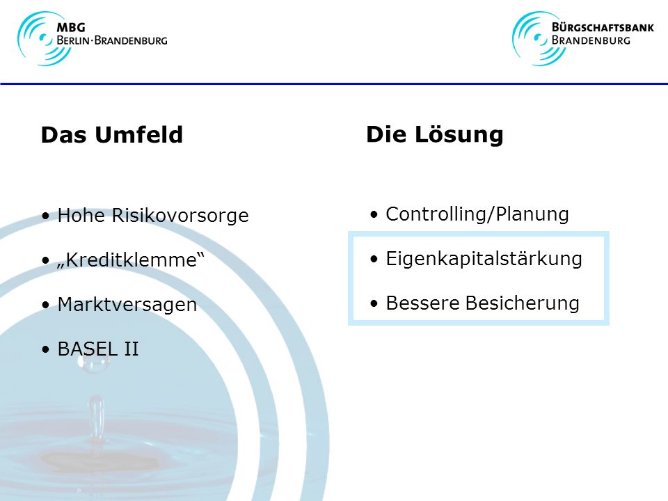 Das Umfeld Die Lösung Hohe Risikovorsorge Controlling/Planung