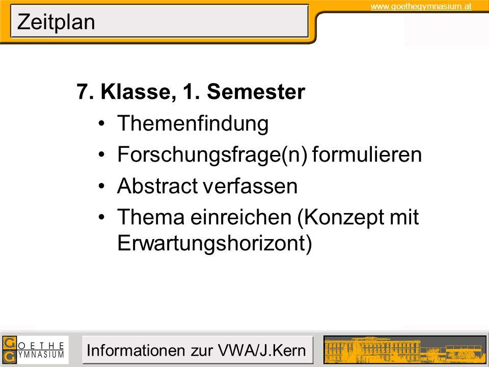 Zeitplan 7. Klasse, 1. Semester. Themenfindung. Forschungsfrage(n) formulieren. Abstract verfassen.