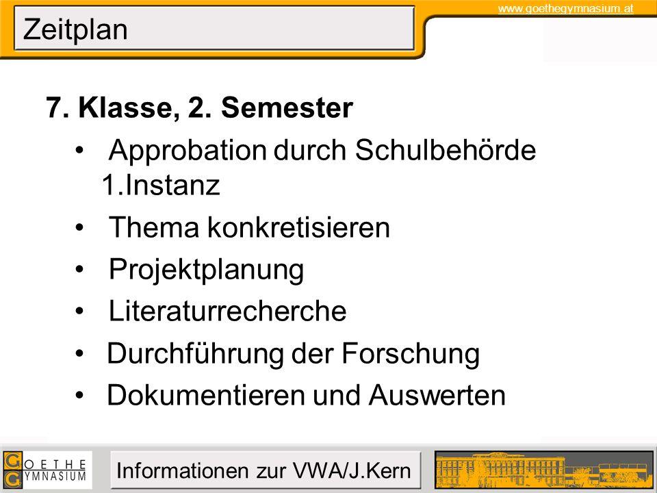 Zeitplan 7. Klasse, 2. Semester. Approbation durch Schulbehörde 1.Instanz. Thema konkretisieren. Projektplanung.