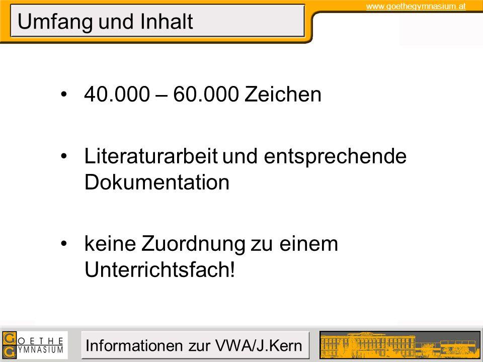 Umfang und Inhalt 40.000 – 60.000 Zeichen. Literaturarbeit und entsprechende Dokumentation.