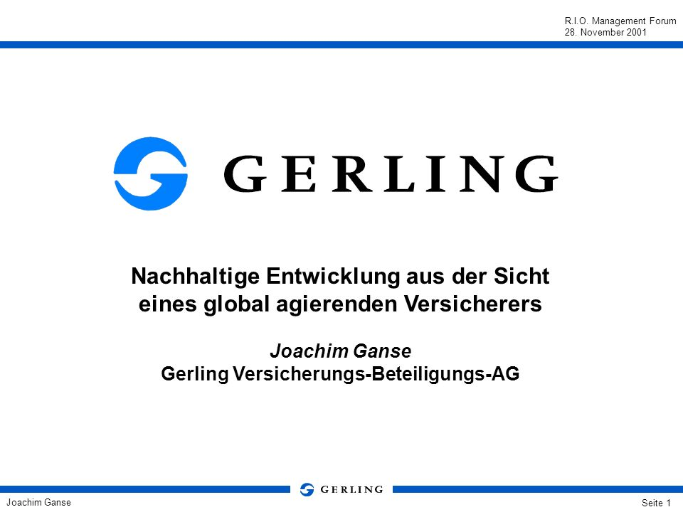Joachim Ganse Gerling Versicherungs-Beteiligungs-AG