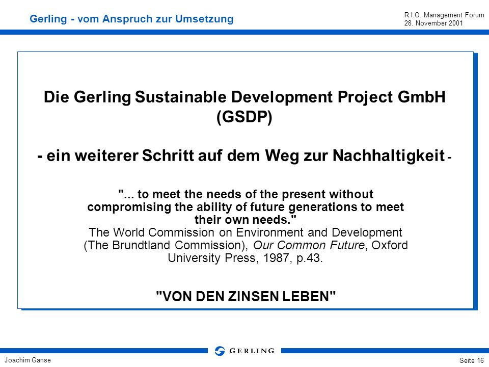 Die Gerling Sustainable Development Project GmbH (GSDP)