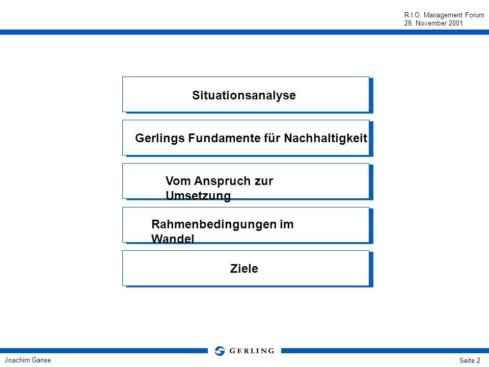 Situationsanalyse Gerlings Fundamente für Nachhaltigkeit. Vom Anspruch zur Umsetzung. Rahmenbedingungen im Wandel.