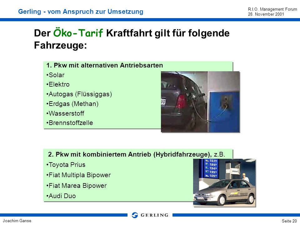 Der Öko-Tarif Kraftfahrt gilt für folgende Fahrzeuge: