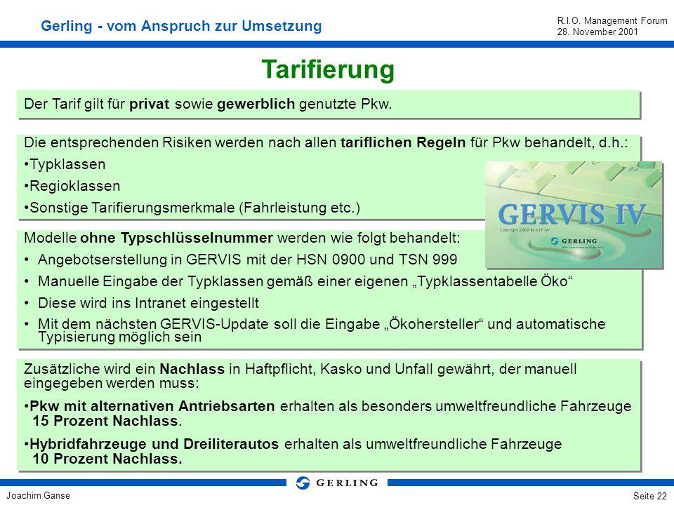 Tarifierung Gerling - vom Anspruch zur Umsetzung