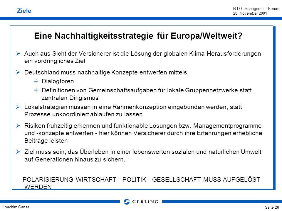 Eine Nachhaltigkeitsstrategie für Europa/Weltweit