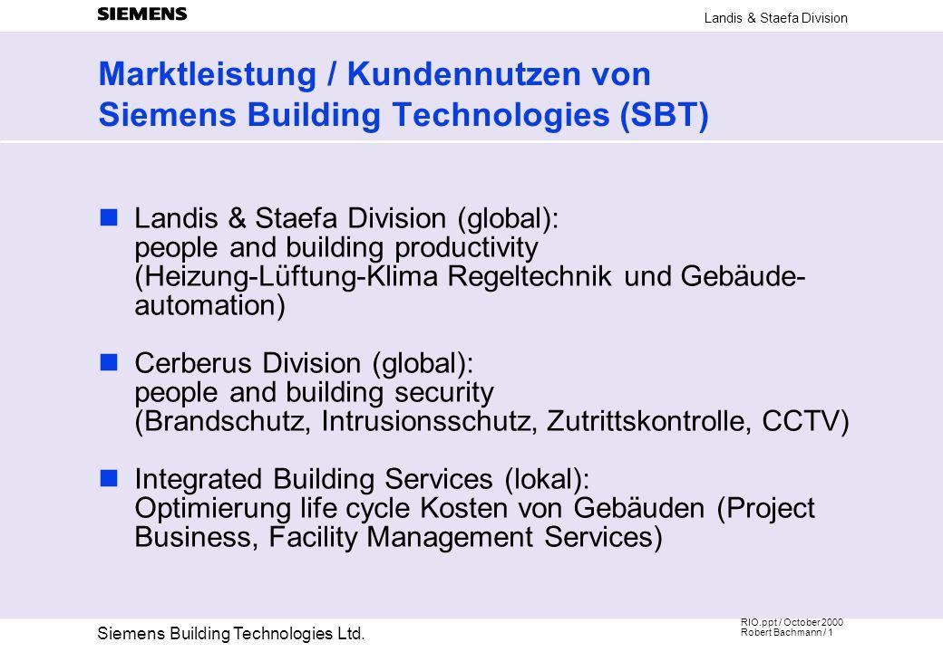 Marktleistung / Kundennutzen von Siemens Building Technologies (SBT)