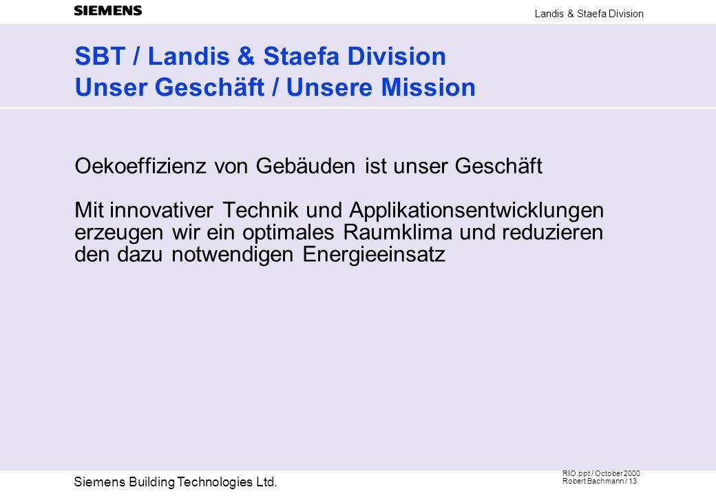 SBT / Landis & Staefa Division Unser Geschäft / Unsere Mission