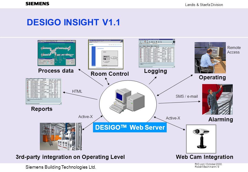DESIGO INSIGHT V1.1 DESIGOTM Web Server Process data Logging