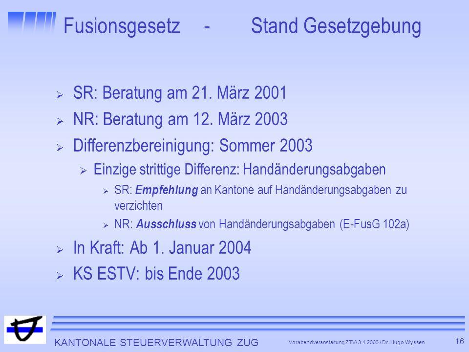 Fusionsgesetz - Stand Gesetzgebung