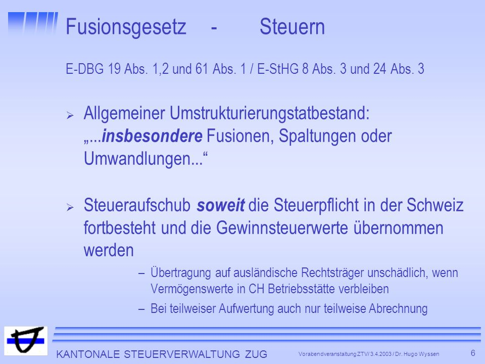 Fusionsgesetz - Steuern