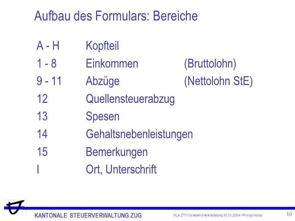 Aufbau des Formulars: Bereiche