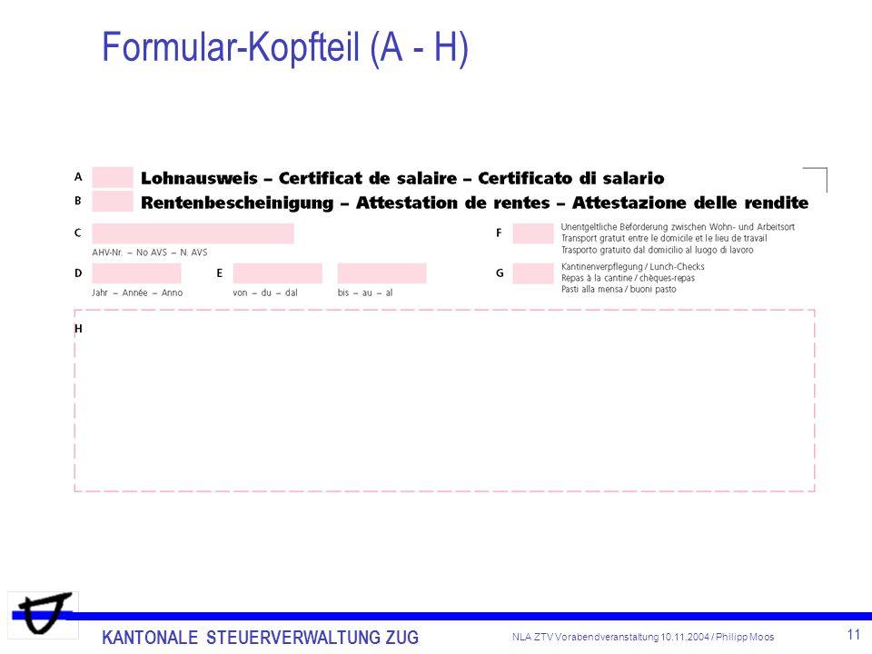 Formular-Kopfteil (A - H)