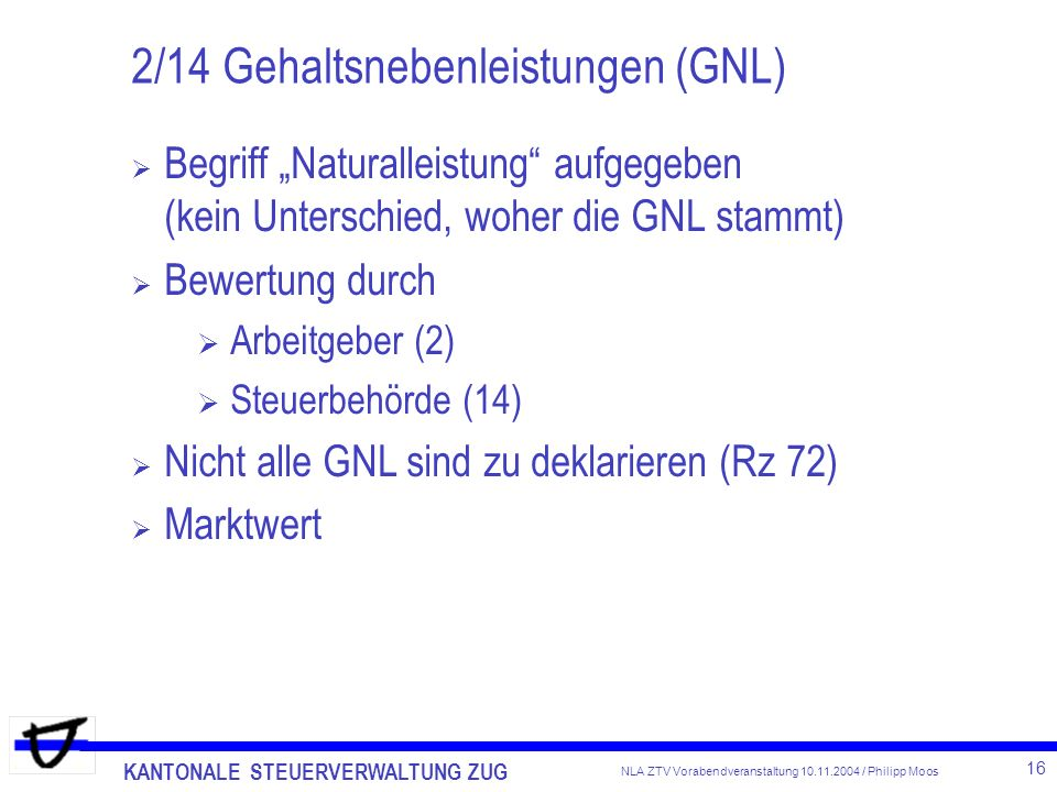 2/14 Gehaltsnebenleistungen (GNL)