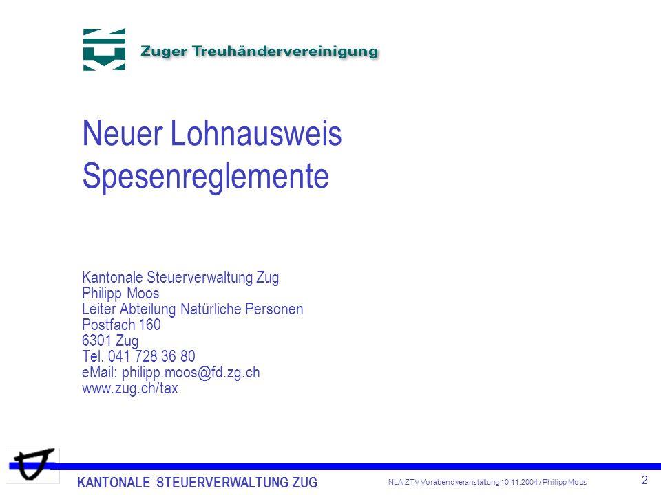 Neuer Lohnausweis Spesenreglemente Kantonale Steuerverwaltung Zug