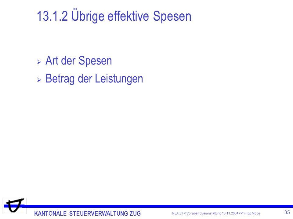 13.1.2 Übrige effektive Spesen
