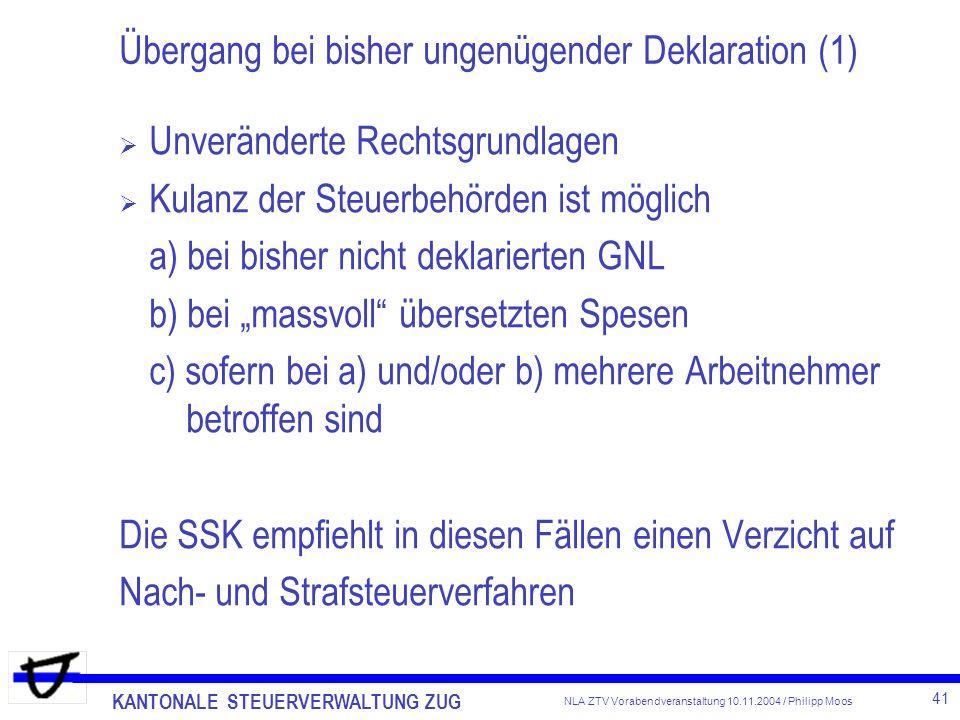 Übergang bei bisher ungenügender Deklaration (1)