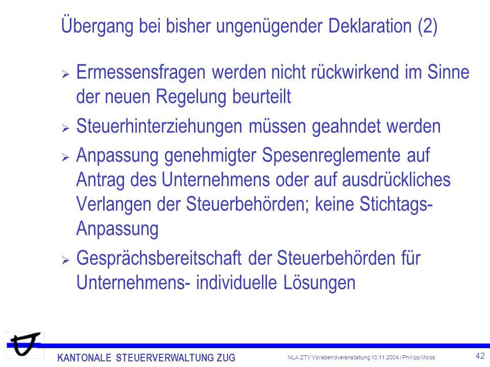 Übergang bei bisher ungenügender Deklaration (2)