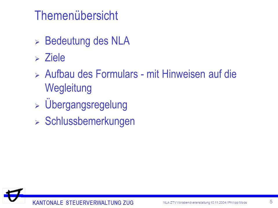 Themenübersicht Bedeutung des NLA Ziele